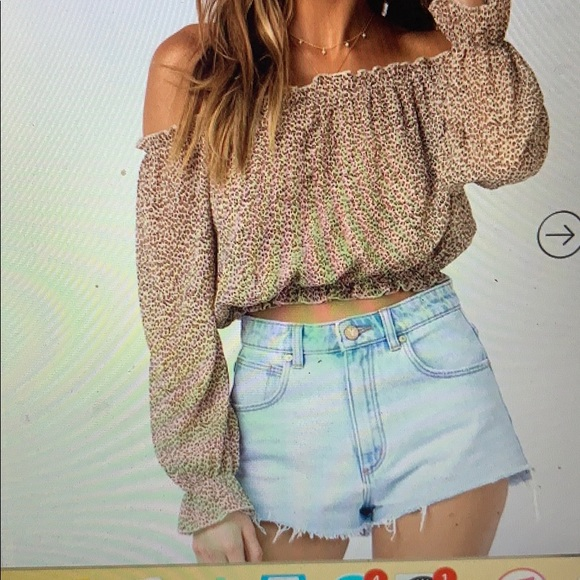 Princess Polly Tops - off the shoulder leopard print top